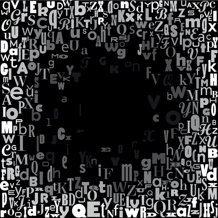 abstract hole, confuse alphabet, vector background in black and white