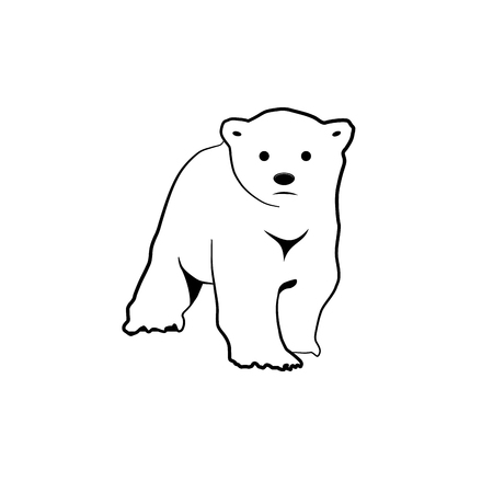 antarctica: Vector sign abstract little white bear in outline Illustration