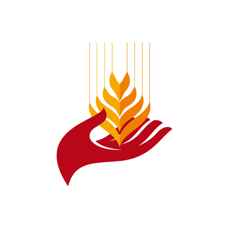 food: Concept of hunger in the world. Help and volunteering. Vector hand and wheat in abstract shape