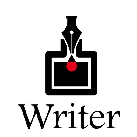 Escritor de signo de vector. Pluma y tintero