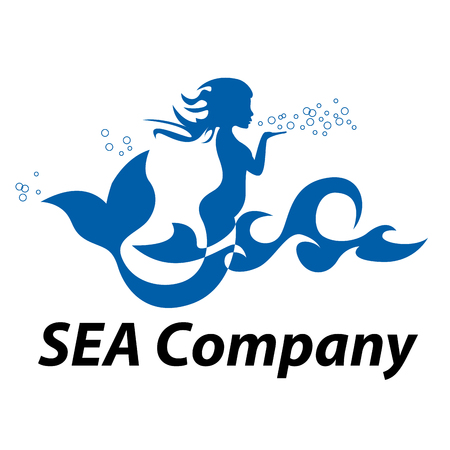 Vector sign mermaid blowing on the sea waves