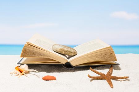 在白沙沙滩上看书