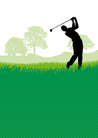 Golf club competition tournament background. Vector poster with man playing game on green.
