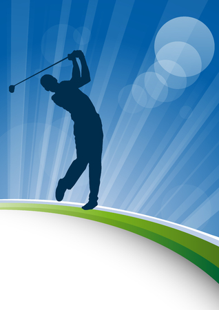 Golf club competition tournament background. Vector poster with man playing game on green Ilustração