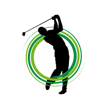 Golf club competition tournament background. Vector sign with man playing game on green
