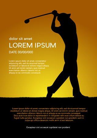 Golf club competition tournament, sunset background. Vector poster with man playing game on green