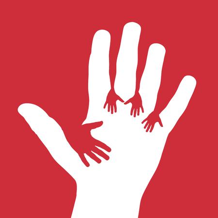 5 つ子の手をベクトル、寄付、ボランティアの概念