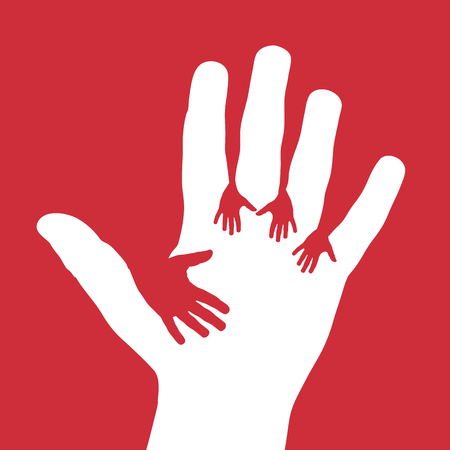 Vector Cover five child hands, donate and volunteer concept