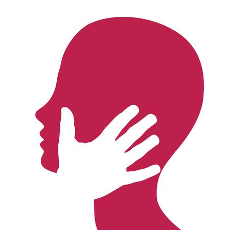 Vector de señal, mano en la cara. Concepto de pasión y amor.