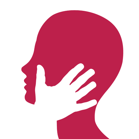 Vector sign,  hand on face. Passion and love concept.