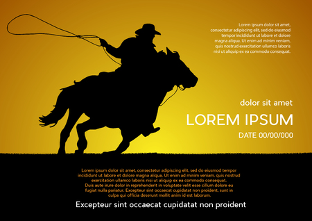 Rodeo competition tournament, sunset background. Vector poster cowboy and lasso on the horse. Ilustração