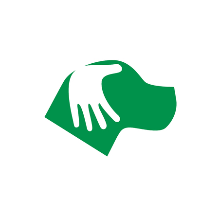 Dog being caressed by his owner, concept of friendship. Vector sign