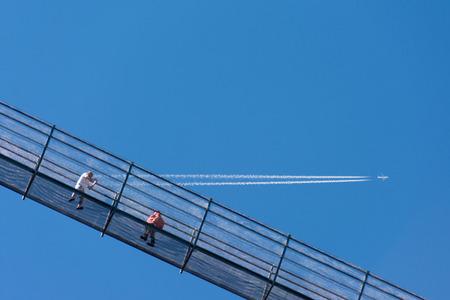 The tibetan pedestrian suspension bridge called Highline 179 in Reutte, longest 406 meters, in Austria
