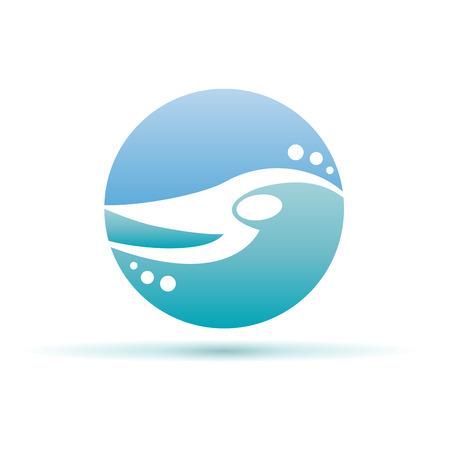 Vector teken zwemmen in het zwembad en de zee Stockfoto - 82819147