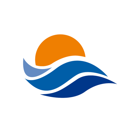tour operator: Vector abstract sign the sun and the sea. Summer concept