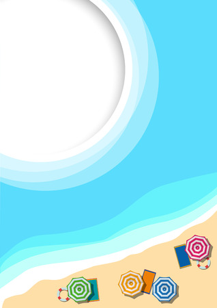 Summer concept, vector background. Beach and sea with umbrella,  view from above