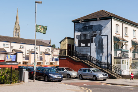 Derry, Northern Ireland, UK- 17 July, 2017: catholic neighbourhood of Bogside;  murals against British occupation. The neighborhood of Bloody sunday Editorial