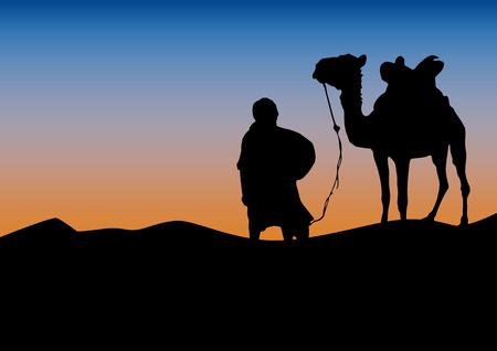 Wohnwagen in der Wüste, Sonnenunterganghintergrund. Poster Kamel und Beduine in der Sahara Standard-Bild - 82917533