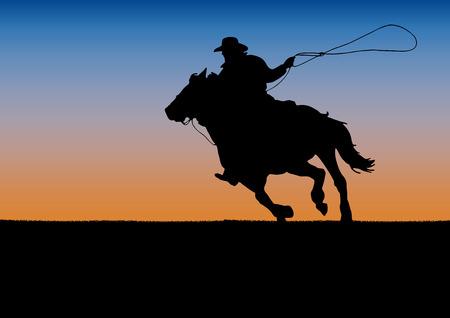 Rodeo Wettbewerb Turnier, Sonnenuntergang Hintergrund. Poster Cowboy und Lasso auf dem Pferd Standard-Bild