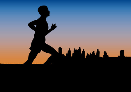 runner in the city on sunset,  poster background