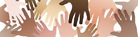 Vectorbannergroepswerk, open handen. Solidariteitsconcept, achtergrond Stock Illustratie