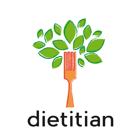 Sign diet, dietitian. Tree with leaves and fork Illustration