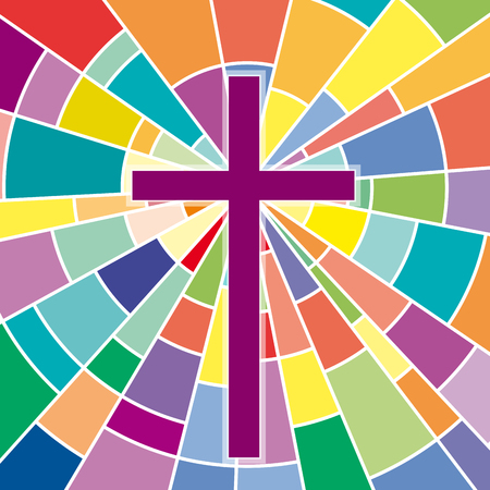 Abstract crucifix, rood on colored glass 일러스트