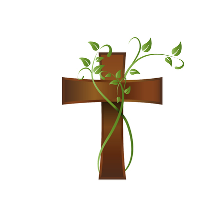 Vector wooden crucifix, rood and climbing plant Stock Vector - 84670078