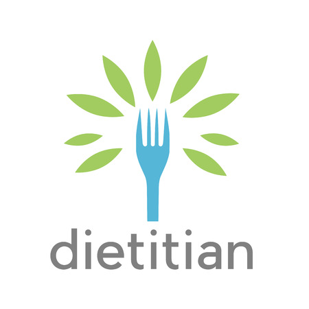 Vector sign diet, dietitian. Tree wit leaves and fork Иллюстрация