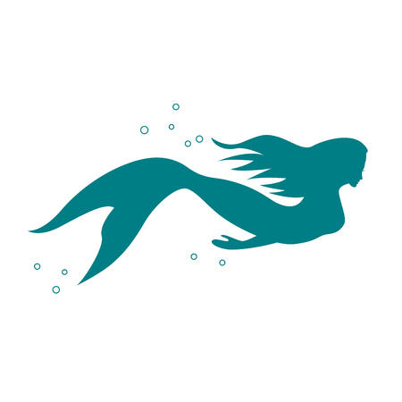 Vector sign mermaid swimming under the sea on white background. Illustration