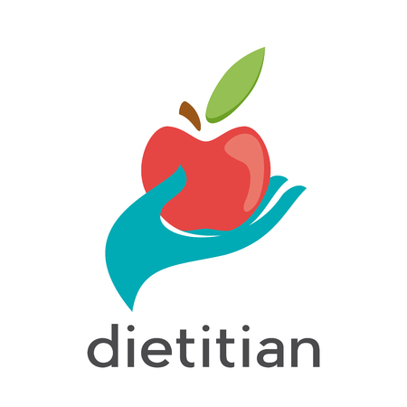 Vector sign diet, dietitian. Hand and red apple.