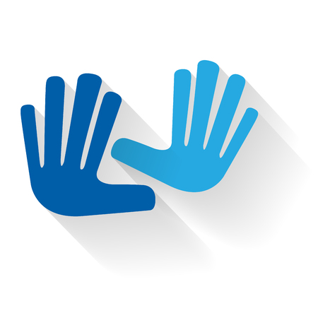 Vector blue hands touching