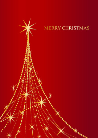 Vector poster Abstract Christmas tree shining