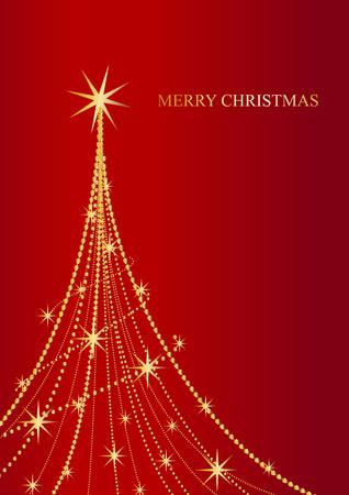 Vector poster Abstract Christmas tree shining
