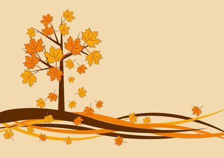 bright: Vector autumn tree background