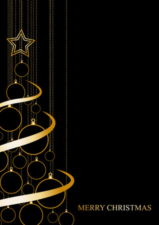 bright: Vector Abstract poster Golden Christmas Tree on black background