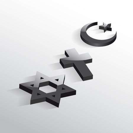 종교 간의 평화와 대화. 기독교 상징, 유대인과 이슬람교 일러스트
