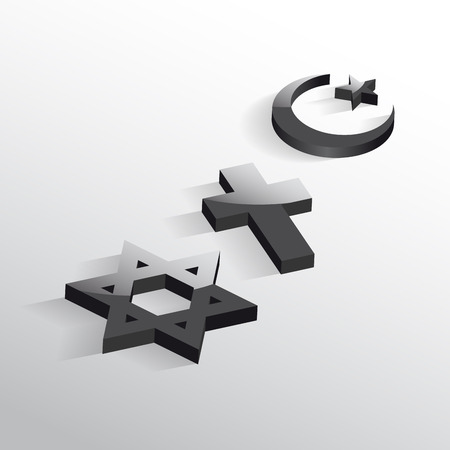 Peace and dialogue between religions. Christian symbols, jew and Islamic Ilustrace