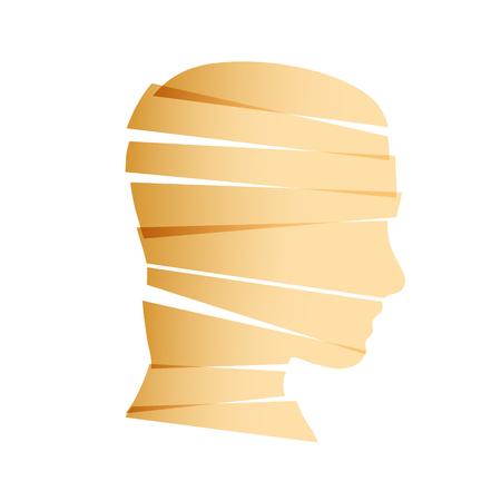 Vector sign man head. Egyptian mummy