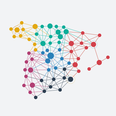 Abstract spanish network with map and link