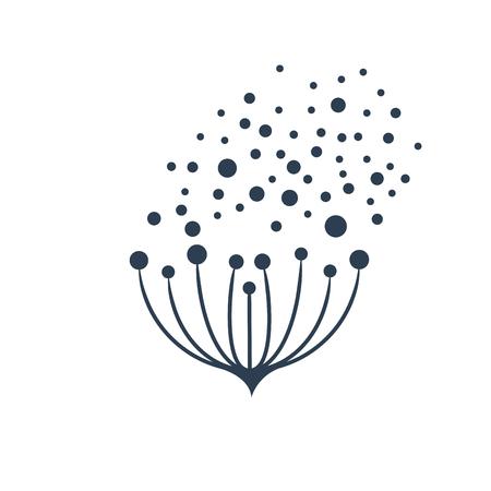 ベクトル記号の花の種が風になびいて