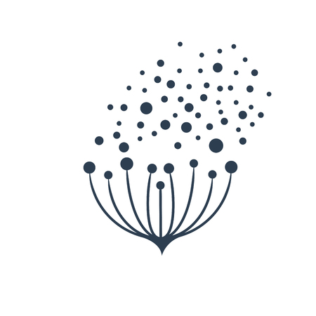 Vector sign flower seeds flying in the wind