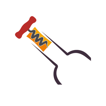 Vector sign wine and corkscrew Illustration
