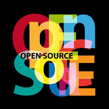 黒の背景に、オープン ソースという言葉をシャッフルします。 写真素材 - 87380374