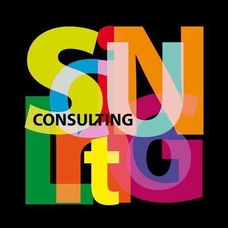 Vector consulting. Broken text Illustration