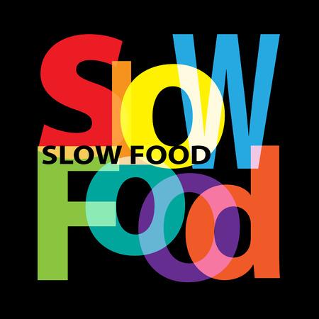 Vector de comida lenta. texto roto Vectores