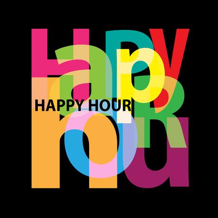 Vector Happy hour. texte brisé Banque d'images - 87427171