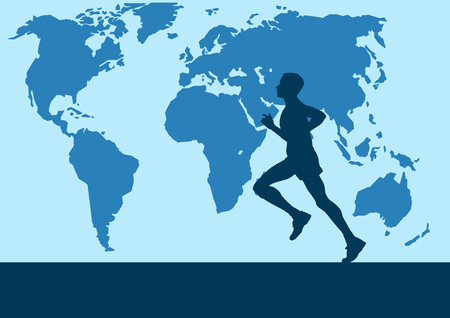 runner in the world map, Vector poster background
