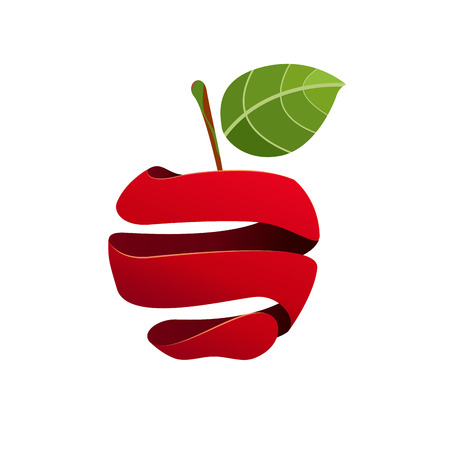 A Vector sign peeled apple on plain background.