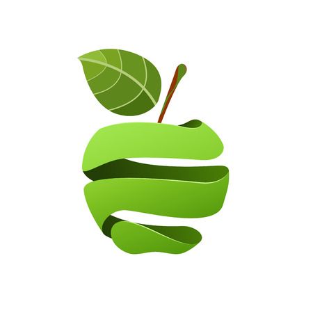 Un signe de vecteur pelé pomme verte sur fond Uni. Vecteurs